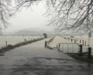 Hikuai is flooded as a result of the heavy downpour. Photo: Stacey Lee Clarke via NZ Herald
