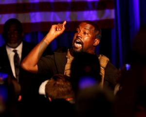 Kanye West at his first rally in support of his presidential bid in North Charleston, South...
