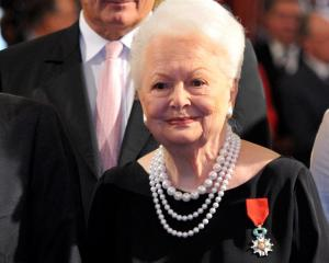 Actress Olivia de Havilland after she was awarded the Legion d'honneur at the Elysee Palace in...