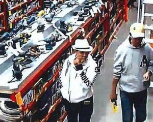 Security camera footage captures Wong Wai Fat and Li Hao shopping in Bunnings. Photo: Supplied