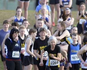 Myrtle Rough takes off to start the women's and age-group race. PHOTOS: GERARD O'BRIEN
