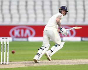 Ben Stokes watches a shot during the first day of England's second test against the West Indies...
