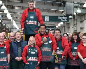 Bunnings team member Peter Trevathan, of Dunedin, is celebrated by his colleagues, friends and...