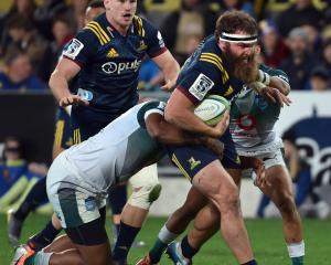 Highlanders hooker Liam Coltman on the charge against the Bulls earlier this month at Forsyth...