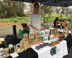 The Brothers Green's ''brother of operations'', Aaron Franks, sells hemp products at the...