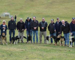 Mt. Nessing Collie Club competitors itching to start (from left) Brad Clouston,  Ian Wallace,...
