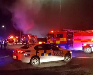 Emergency services at the scene last night. Photo: Supplied