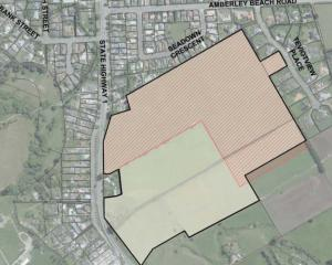 The site of the proposed lifestyle village on the outskirts of Amberley is marked in red. Image:...