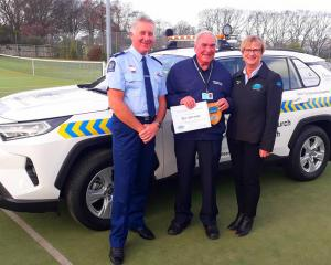 Senior Sergeant Roy Appley, Don Dalrymple, of the Christchurch South Community Patrol, and CPNZ...