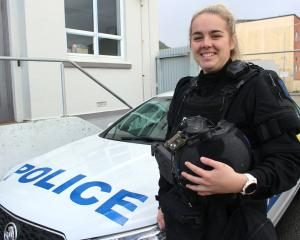 Constable Jess Lacy in her armed offenders squad kit. PHOTO: GREYMOUTH STAR