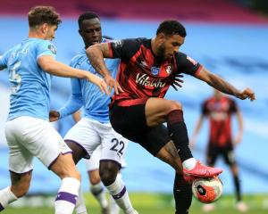 Bournemouth's Joshua King controls the ball against Manchester City this morning. Photo: Getty...