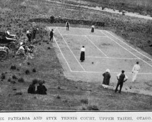 The Patearoa and Styx tennis court, Upper Taieri. — Otago Witness, 24.8.1920. 