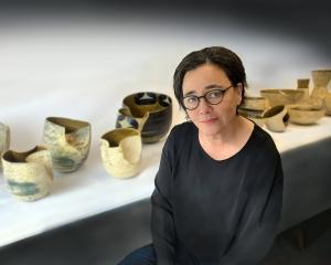 Phil Brooks with some of her latest works in her studio in Auckland. PHOTO: DESMOND BURDON