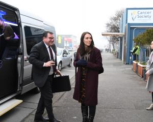 Finance Minister Grant Robertson (left) and Prime Minister Jacinda Ardern arrive at Great South....