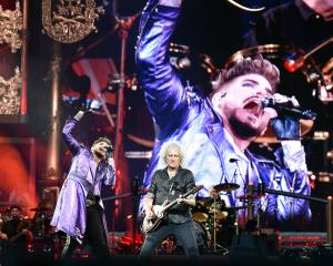 Queen and Adam Lambert perform at Forsyth Barr Stadium in February this year. PHOTO PETER MCINTOSH