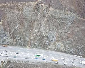 An aerial view of the slip causing delays near the entrance to Cromwell. Photo: NZTA