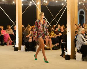 A model displays designer clothing at Fashion for a Cure in Dunedin last year. PHOTO: SUPPLIED