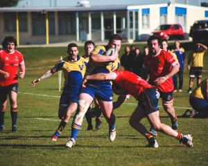 Valley forward Jake Greenslade takes the ball up in last week's semifinal match against Kurow...