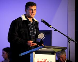 Dillon Hunt speaks during the Highlanders Annual Awards at Toitu Otago Settlers Museum in Dunedin...