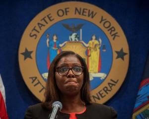 New York State Attorney General Letitia James speaks during a news conference to announce a suit...