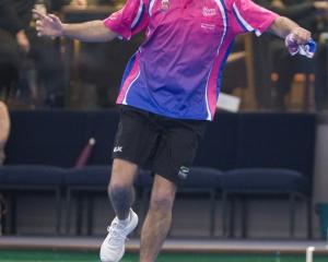 Gore bowler Sheldon Bagrie-Howley gets excited about his bowl at the PBA world singles final at...