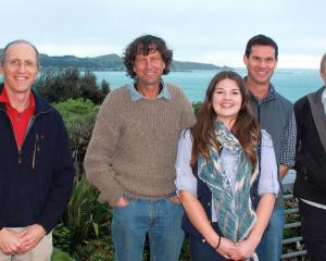Enjoying the Kaikoura scenery are (from left) Canterbury farm facilitator and coach John King,...