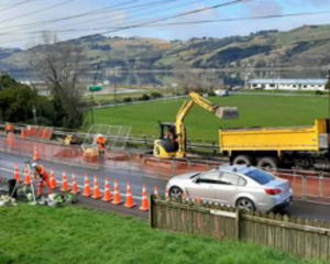 The works affect part of State Highway 88 near Ravensbourne.  Photo: NZTA