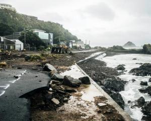 Storm surge damage at Owhiro Bay, Wellington. Photo: NIWA / Dave Allen