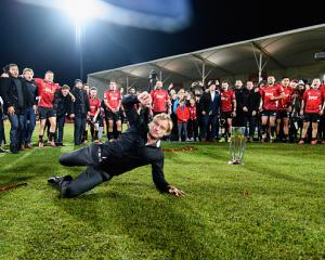 Scott Robertson break dancing after the 2019 Super Rugby final. Photo: Getty Images