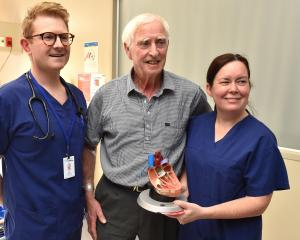 Semi-retired East Taieri farmer John Parks (78) talks to Dunedin Hospital cardiologists Dr Ben...