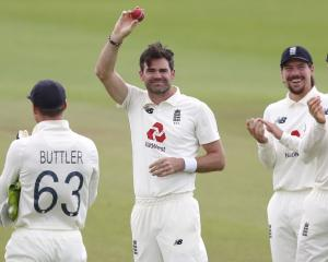 James Anderson celebrates his 600th test wicket. Photo: Getty Images