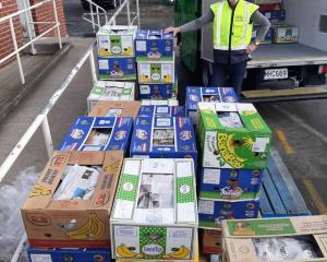 Three pallets of citrus fruit from Whangārei ready to be distributed to people in Dunedin. Photo:...