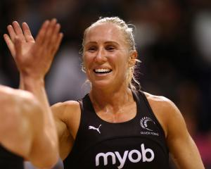 Laura Langman celebrates the Silver Ferns' win during the Constellation Cup in Christchurch last...