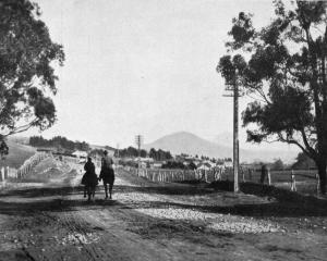 On the main south road, looking towards Saddle Hill, near Dunedin. — Otago Witness, 17.8.1920.