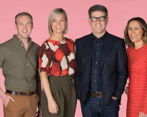 Hayley Holt (second left) with weather presenter Matty McLean and presenters John Campbell and...