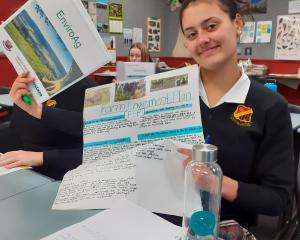 Waitaki Girls' High School year 10 student Leah Morrow with some of her EnviroAg course work....