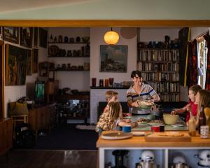 Balmac No 7 chef Penny Allan relaxes at home with  children  (from left) Billie, Rockie, Adelphi...