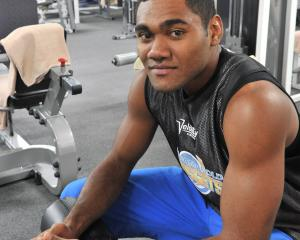 Chiefs No8 PIta Gus Sowakula trains in Dunedin in 2014 when he played for the Otago Nuggets....