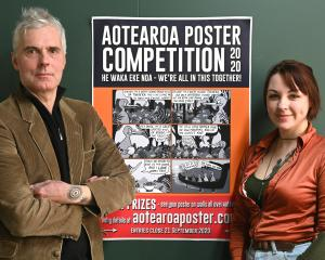 Aotearoa Poster Competition organisers Bruce Mahalski and Veronica Brett. Photo: Linda Robertson
