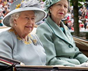 Queen Elizabeth II and Princess Anne, Princess Royal on day three, Ladies Day, of Royal Ascot at...