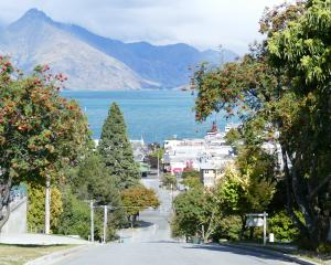 Ballarat St, Queenstown, was eerily quiet yesterday. Photo: Tracey Roxburgh