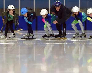 Speed skaters (from left) Max Cathro (10), Zakari Evangelou (10), Lukas Ghidella (12), Brooke...