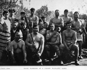 Maori warriors at a recent tangi in Wanganui. — Otago Witness, 31.8.1920.