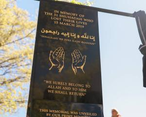 The memorial plaque outside Al Noor mosque. Photo: NZ Herald