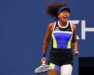 Naomi Osaka reacts during the third set against Victoria Azarenka. Photo: Robert Deutsch-USA...