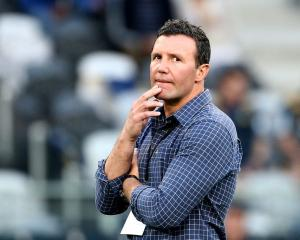 Highlanders coach Aaron Mauger at Forsyth Barr Stadium last night. Photo: Getty Images