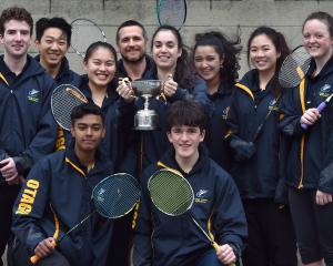 The Neill Cup-winning Otago badminton team of (back row, from left) Josh Kellet, Michael Zhang,...