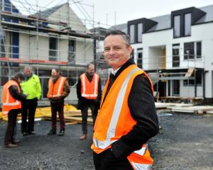 Green Party co-leader James Shaw checks Dunedin's Toiora High Street Co-housing development with...