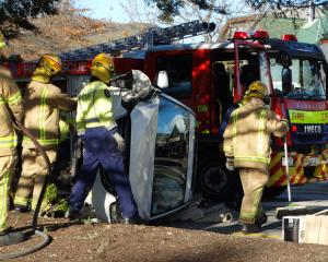 Fire crews at the scene of the crash in Wanaka today. Photo: Mark Price