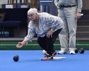 Anne Craik plays during the Dunedin Lawn Bowls Stadium's 25th anniversary tournament on Sunday....